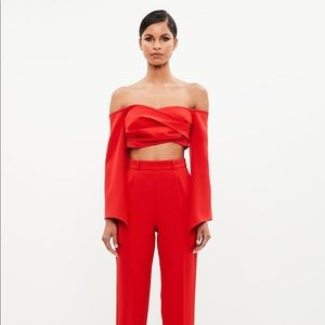 Missguided peace + love red bardot crepe wrap top